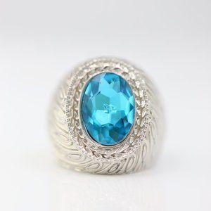 18k Gold Dipped Blue Topaz Statement Stunning Ring